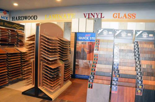 Hardwood flooring, laminate floors, vinyl and glass display