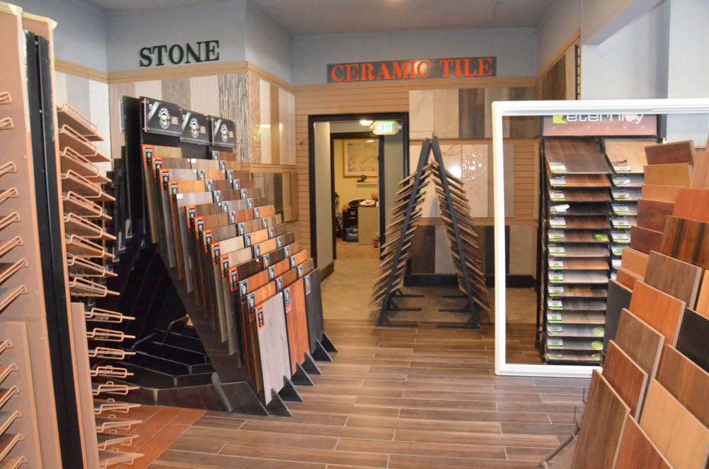 Stone and ceramic flooring options at Grand Construction Supply Co. in Alameda, CA