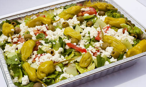 Popular Greek salad with peppers and feta cheese