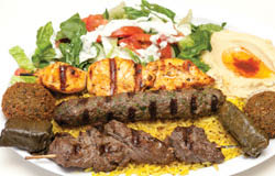 Nicely spiced combo plate of kabob, chicken, beef with rice
