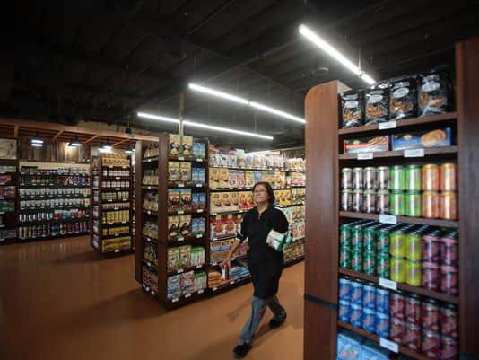 Shelves stocked with goods you won't find in other grocery stores