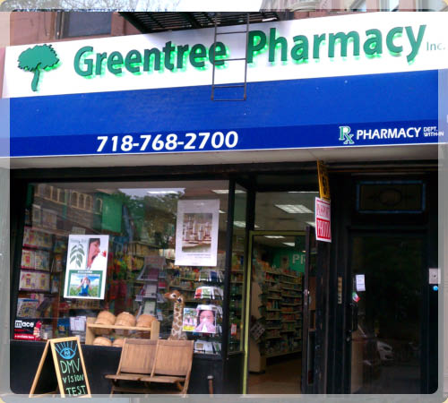 Exterior of Greentree Pharmacy Brooklyn, NY
