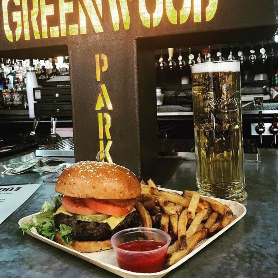 Greenwood park burger and handcut fries with a hefeweizen.