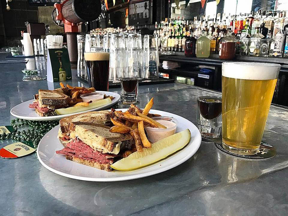 Cabbage and roast beef sandwich with a sour beer near Prospect park