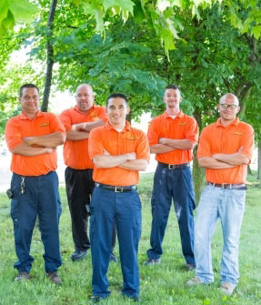 the picture shows the plumbing team from summers of new albany, in