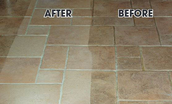 Before and after photos of old tile and tile restoration by The Grout Guy
