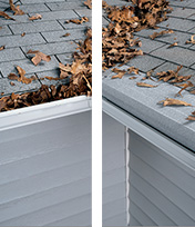 Clogged gutters before and after with Gutter Helmet installation