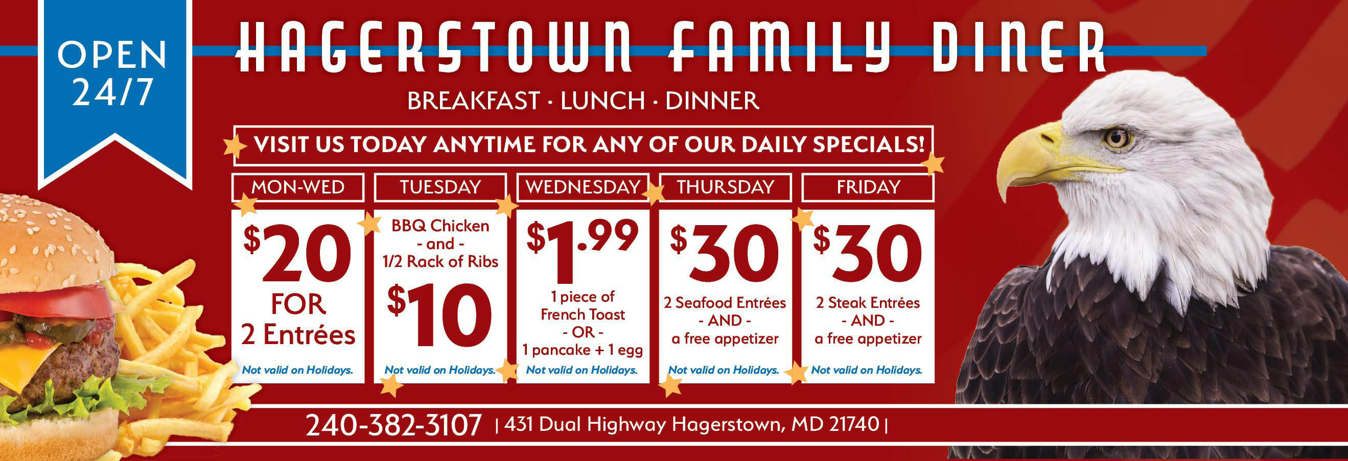 Diner, Lunch, Dinner, Food, Dive, Soups, Sandwiches, Burgers, Family, Hagerstown, Pie, Breakfast