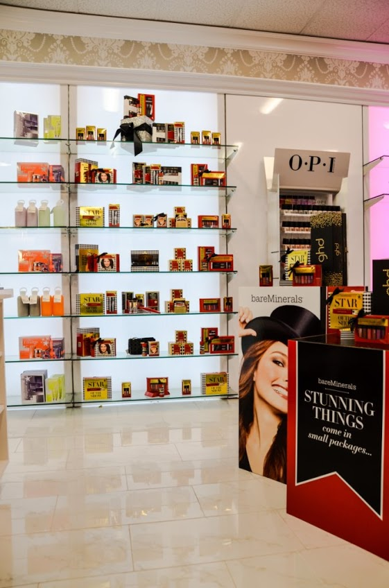 bareMinerals makeup and skincare display at Chino Hills and Ontario, CA. Moroccanoil  Planet Beauty coupon  Planet Beauty locations  beauty supply online