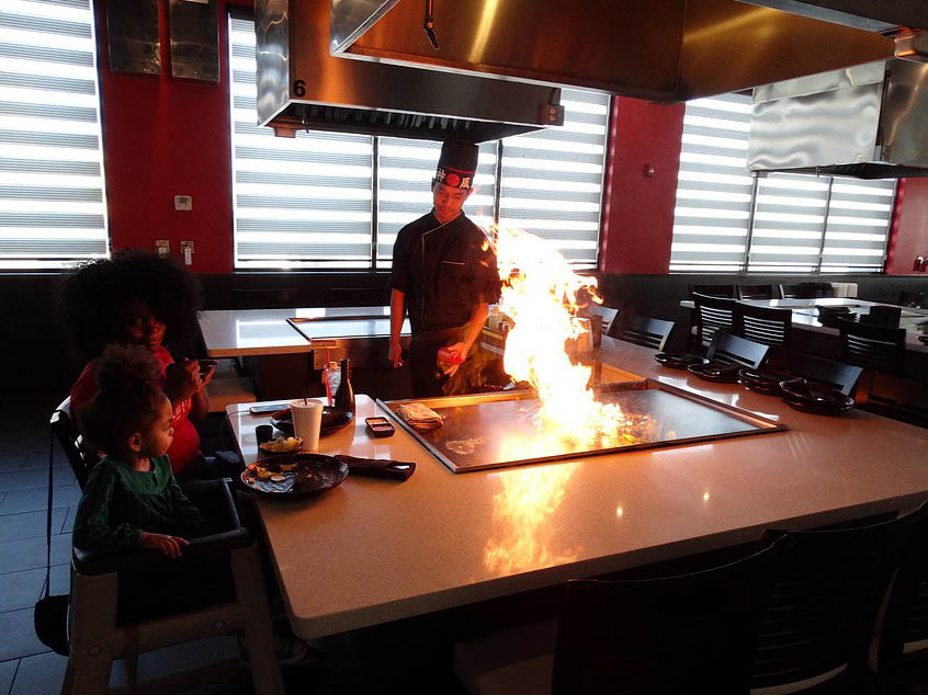 hibachi grill chef at  Hanami Sushi Teppan Bar in Bedford, TX