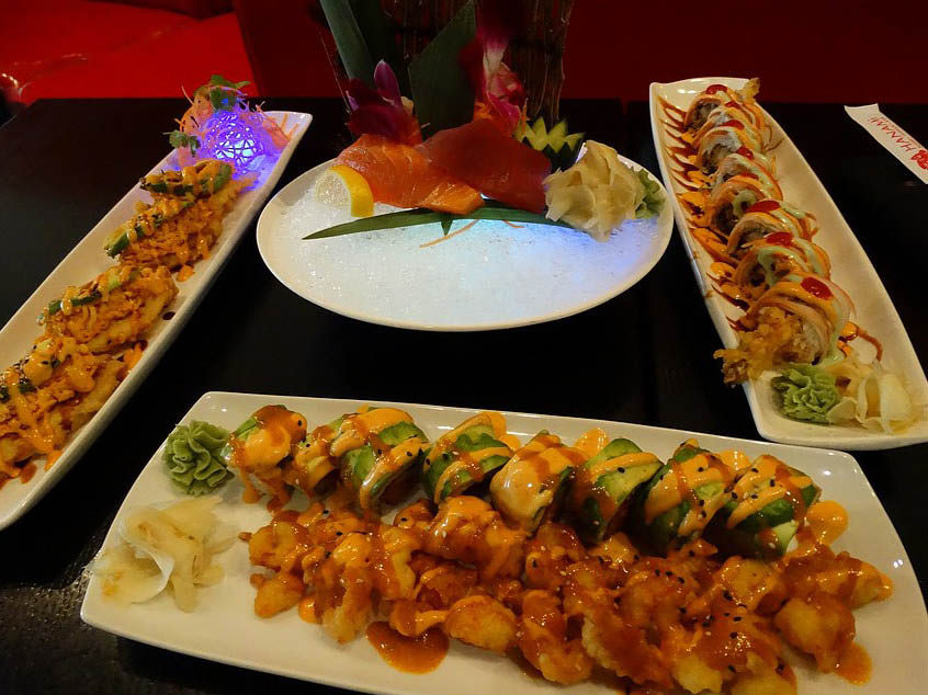 dishes from  Hanami Sushi Teppan Bar in Bedford, TX
