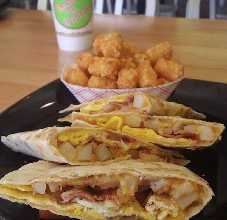 Hansel N' Griddle, wraps, tater tots
