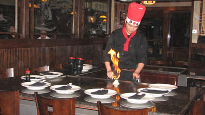 Food cooked in front of your table.