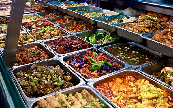 Assortment of buffet foods for entrees, veggies and sides
