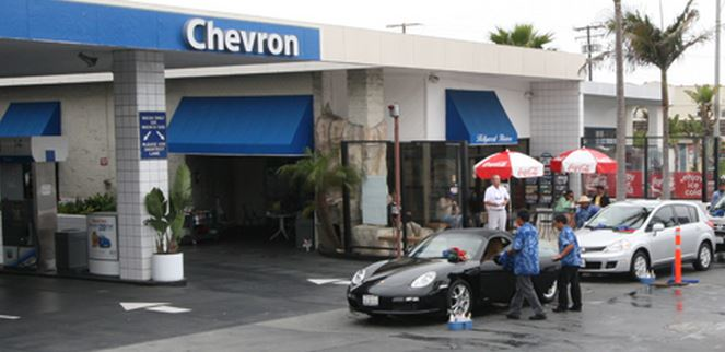 Hollywood Riviera Car Wash is located right next to the Chevron Gas Station