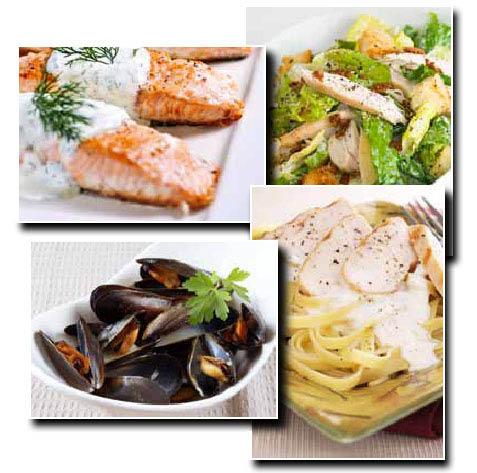Strings Italian Cafe; Livermore, CA; salmon, pasta, salad, mussels