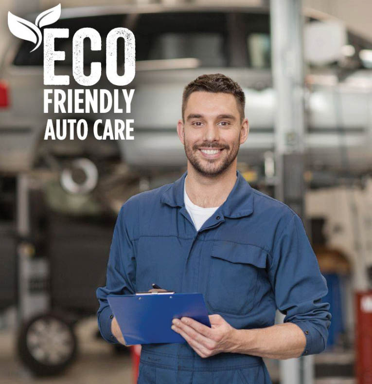 ASE certified mechanic ready to perform environmentally friendly car care