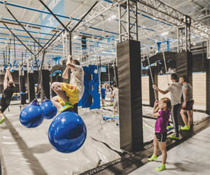 ninja obstacle course, indoor trampoline park, jump time, dodgeball, rock climbing, birthday parties, entertainment
