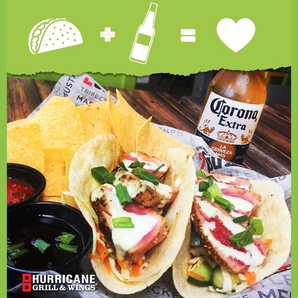 Ahi Tuna Tacos with an icy Corona