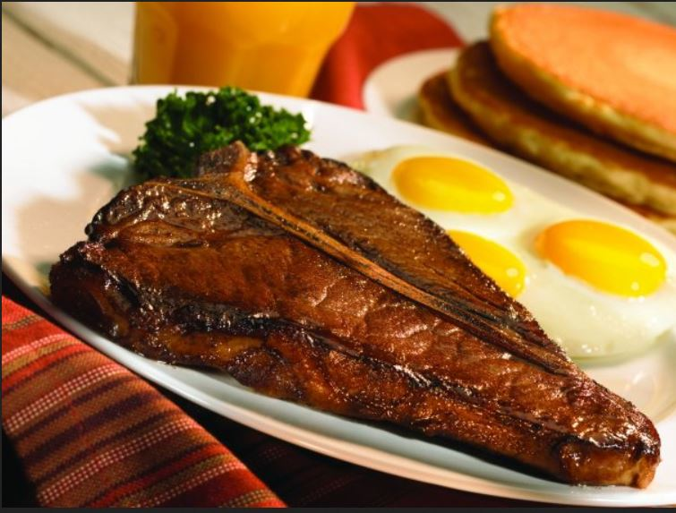 steak, pancakes, eggs, breakfast, anytime, delicious