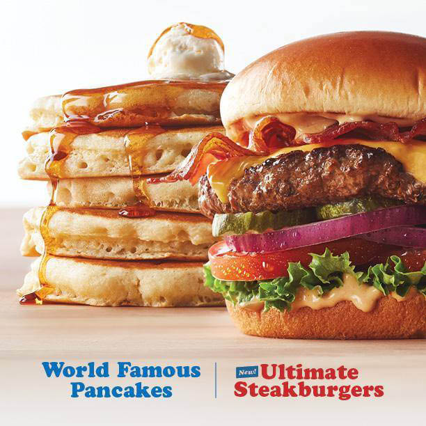 stack of pancakes; loaded hamburger from IHOP West Des Moines