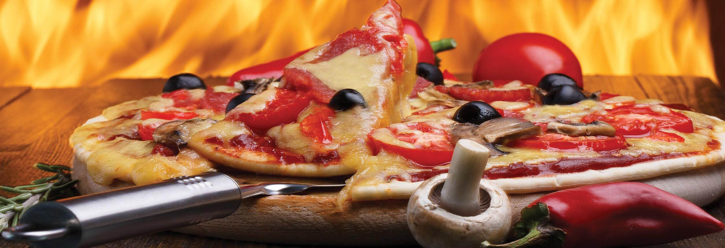 Fire Roasted Olive and Tomato Pizza in the Oven from Il Forno in Deerfield, IL banner ad