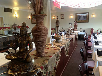 dining room of India's Tandoori with Indian décor; authentic Indian food in Manhattan Beach