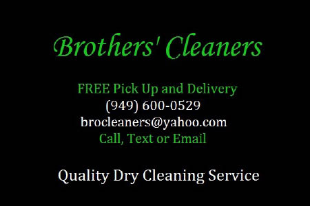 Brothers' Cleaners FREE pick-up and delivery in Laguna Niguel and Aliso Viejo, CA