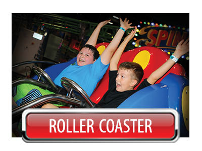 roller coaster rides at Incredible Pizza in Oklahoma City, OK