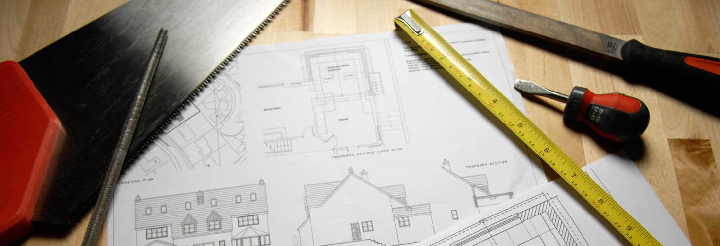 Construction Tools and Home Blue Print Plans banner