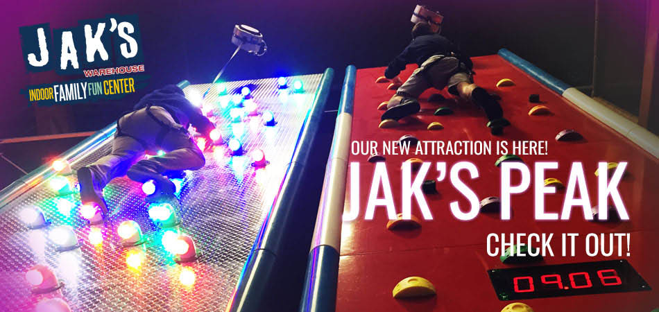 Try our newest ride, JAK'S Peak,lighted climbing wall.