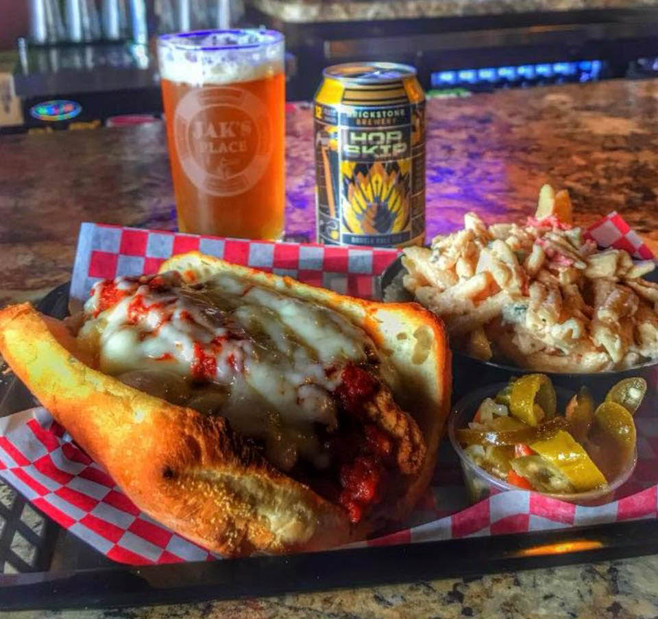 Chicken Parm sandwich, fries and an ice cold beer for lunch or dinner at Jak's Place.