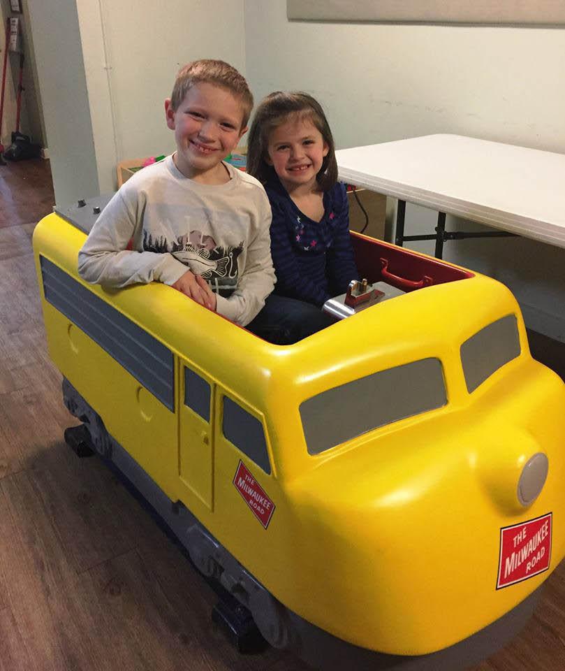 Train diner kids having fun near Melrose Park