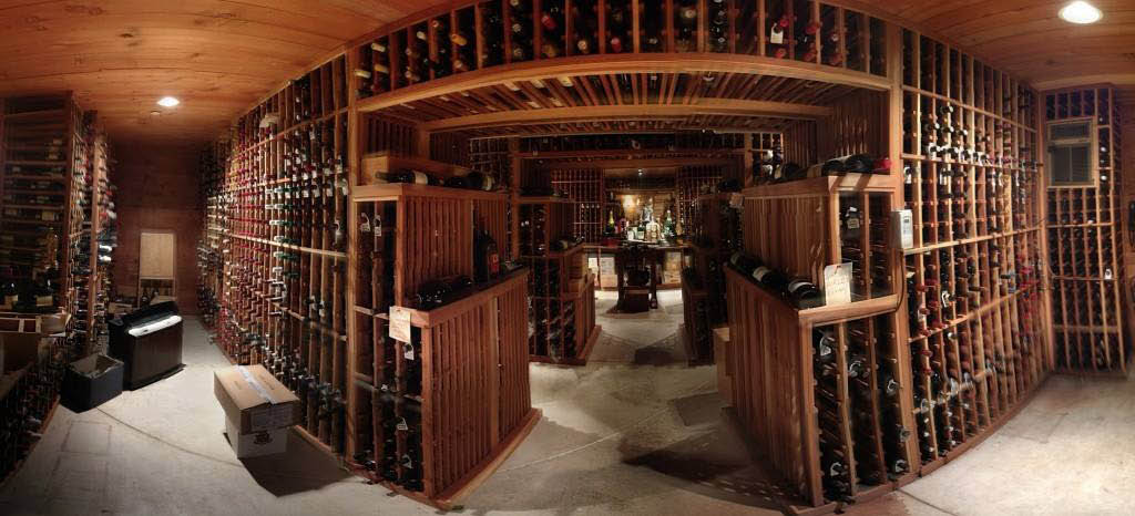 The huge wine cellar at Jen's Guest House located in Willow Springs, IL.