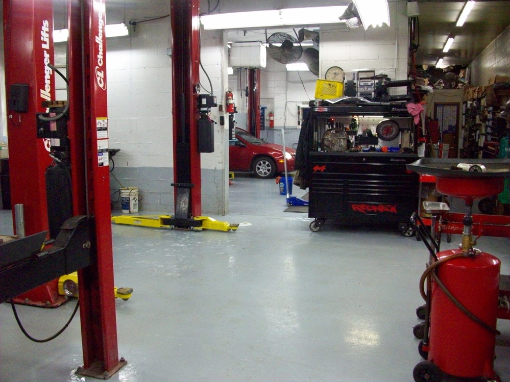 The clean and organized garage bays at J & K Automotive in Urbandale, Iowa