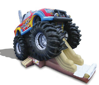 Giant inflatable slides available at Jump On It for your next party monster truck