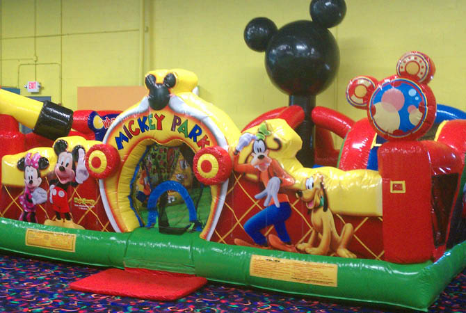 Mickey Park inflatable at Jump Zone Party Play Center in Chicago Ridge.