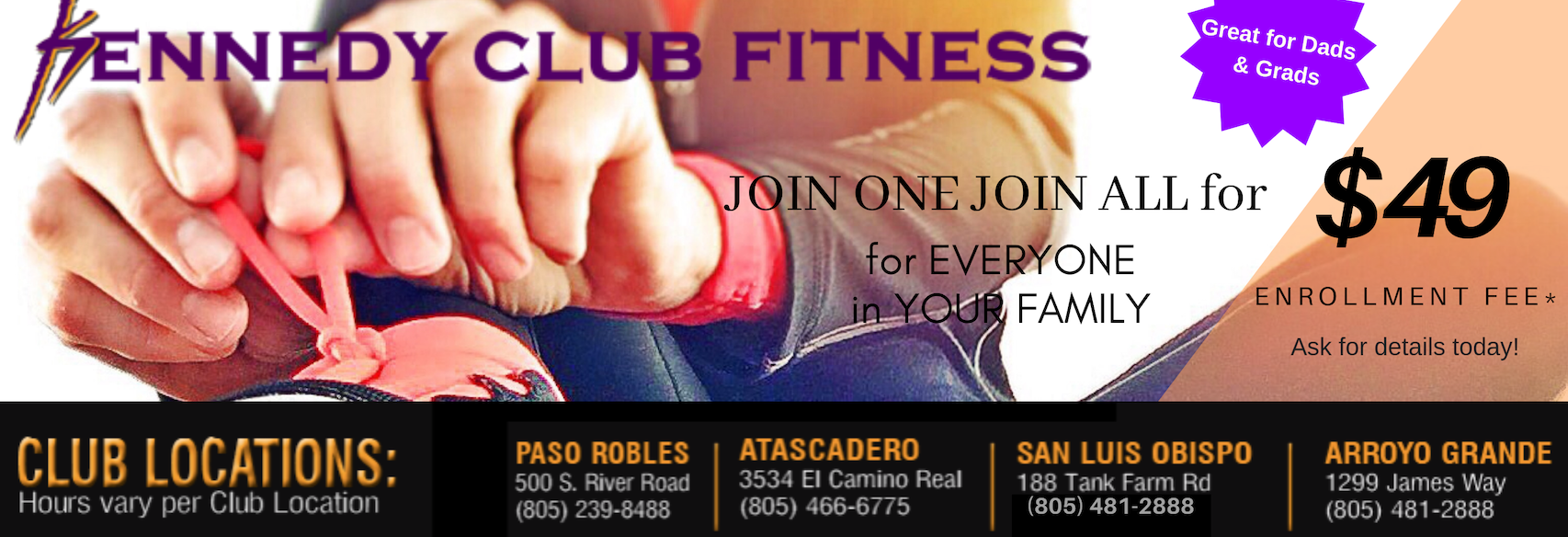 kennedy club fitness banner. four locations in the san luis obispo county