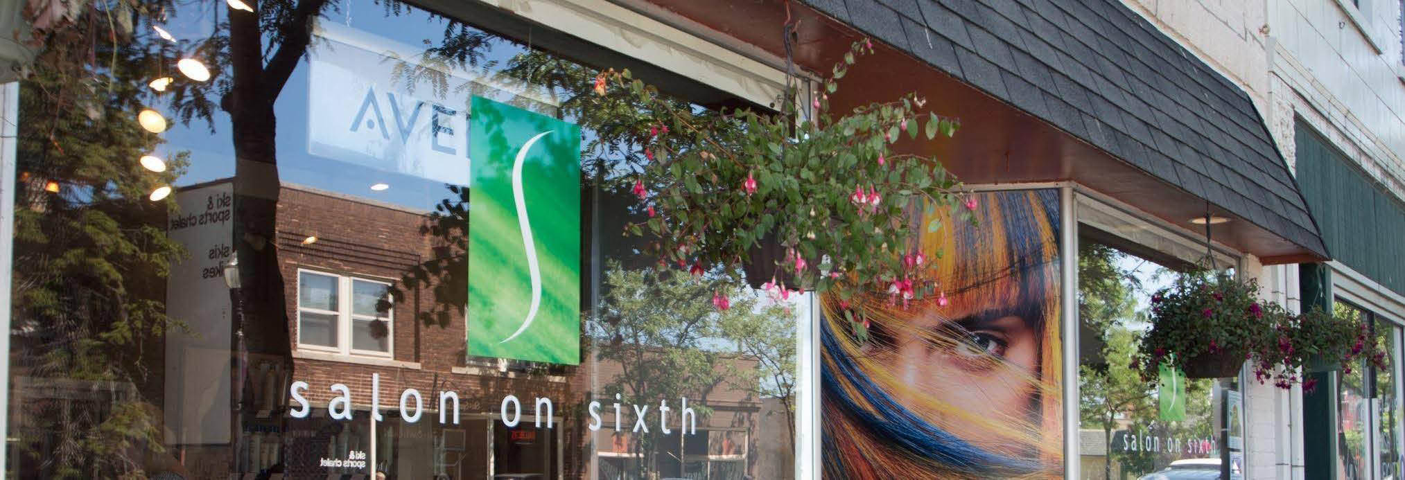 SALON ON SIXTH banner in Kenosha Wisconsin
