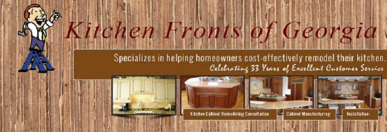 New kitchen cabinets and re-surfaced kitchen cabinets from Kitchen Fronts banner & Atlanta Kitchen Remodeling Coupons-Cabinet Refacing Discount