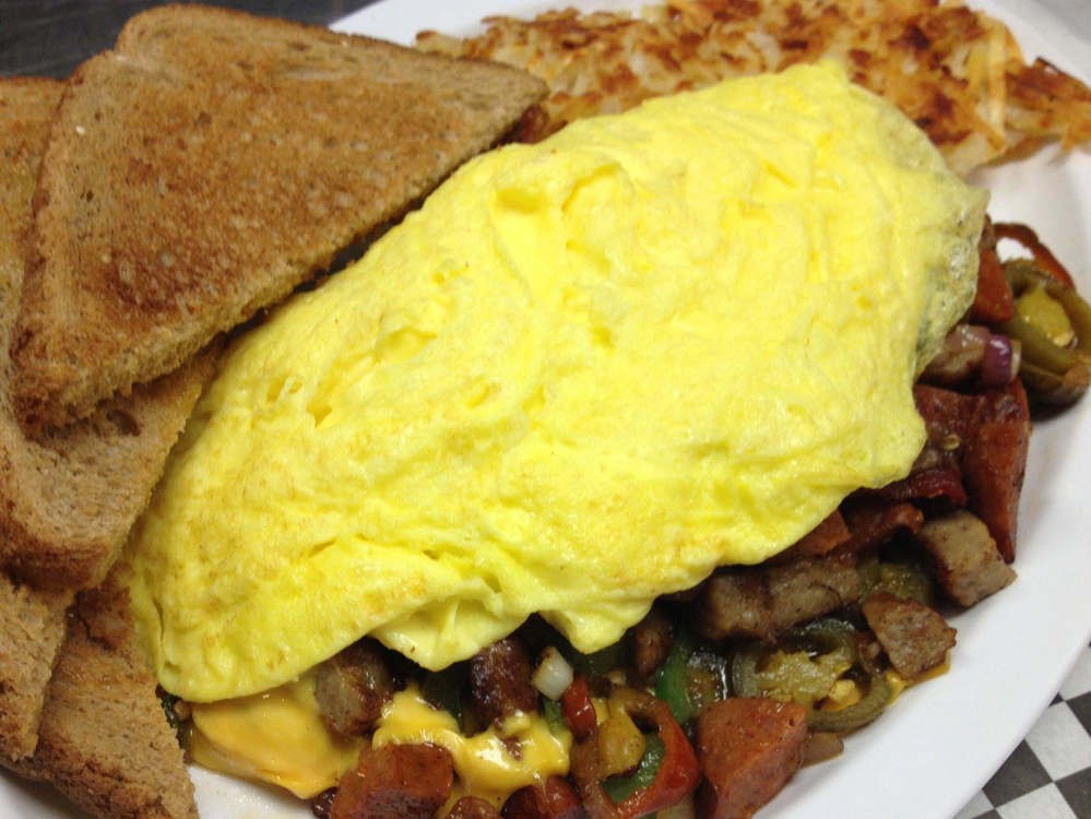 A Fluffy Digger's Diner Kitchen Sink Omelet Starts Your Day Out Right