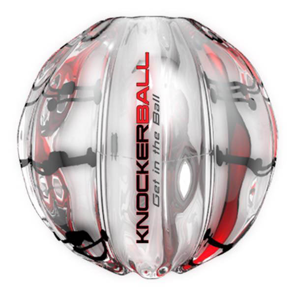 A knockerball is a fun and safe plastic bubble suit that allows participants to have a rip-roaring good time.