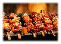 Flame-broiled kabob at Kobe Japan Restaurant in Livermore, CA; steakhouse restaurant, lobster and seafood