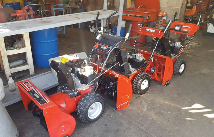 Three snow blowers for sale at K and S Service Center in Albuquerque NM