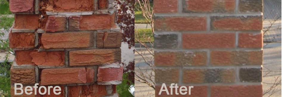 Before & After chimney repair by Lally Bros. Masonry.