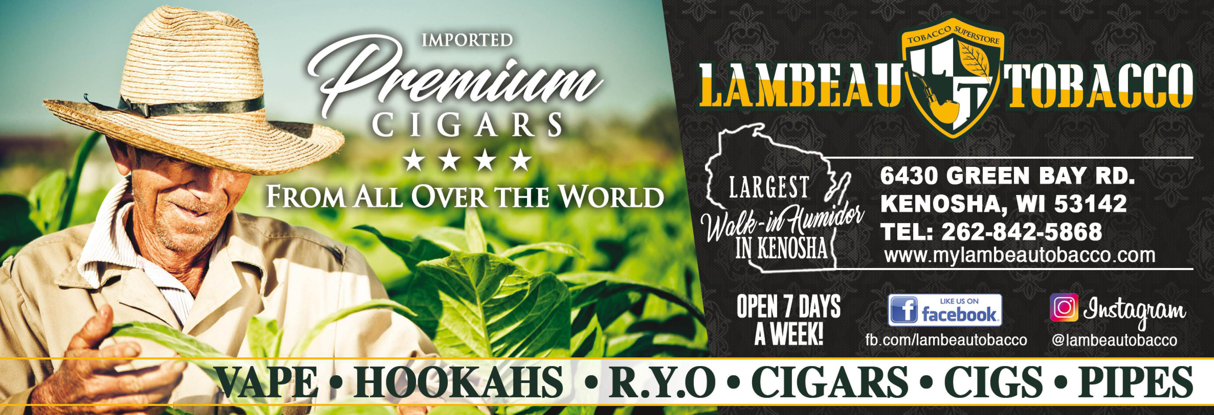 Lambeau Tobacco Cigars Pipes Tobacco in Kenosha, Wisonsin Banner