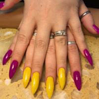 Gorgeous gel manicure in vibrant color polish or neutral colors