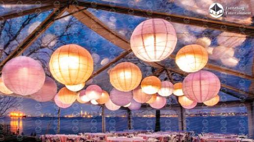 Lanterns, hanging lanterns, tent lighting, Chinese lanterns, led lighting, projection, gala lighting, lighted runway, centerpiece spotlighting, led lighting, audio visual, arcade, bouncy house, tent rental, event planning
