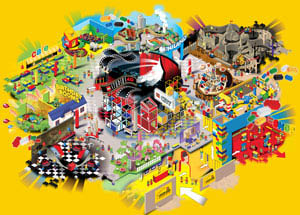 Map of attractions in LegoLand Discovery Center