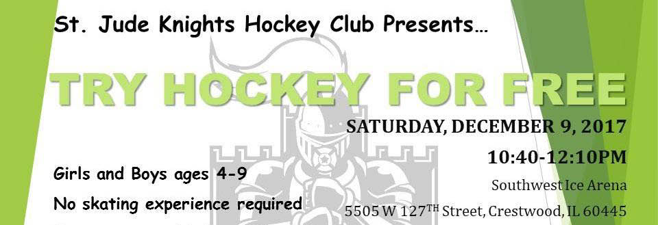 Free learn to skate session with St Jude's Hockey group in Crestwood, IL.